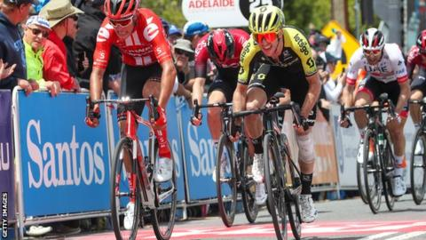 Simon Yates (in yellow and black) was five seconds behind stage three winner Richie Porte