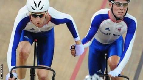 Sir Bradley Wiggins and Mark Cavendish competiting in 2008