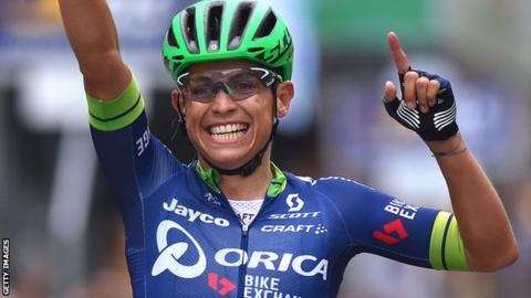 Esteban Chaves celebrates winning Giro di Lombardia