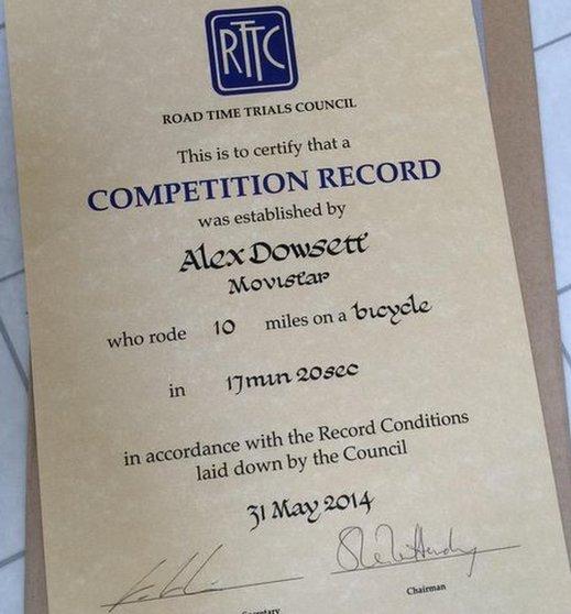 Alex Dowsett certificate
