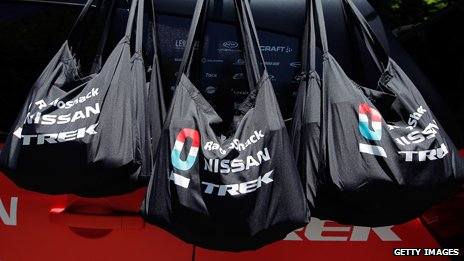 Musette bags in the feed zone