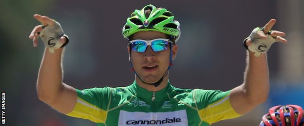 Peter Sagan of Slovakia celebrates his victory in stage seven of the 2014 Tour of California