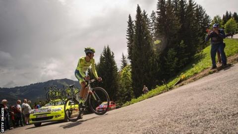 Alberto Contador riding in the Criterium du Dauphine time trial around Les Gets