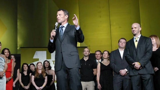 Lance Armstrong  speaking at an event to mark the 15th anniversary of his cancer charity