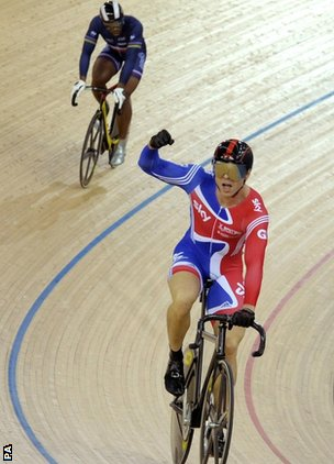 France's Gregory Bauge and Sir Chris Hoy
